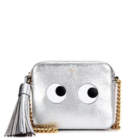 Eyes Right metallic leather cross-body bag
