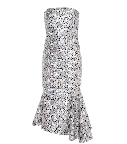 balenciaga female sequinned and embroidered silk dress