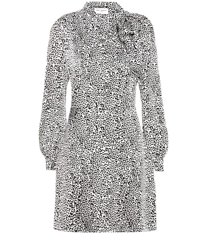 saint laurent female leopardprint silk dress