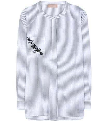 Striped cotton and linen-blend top
