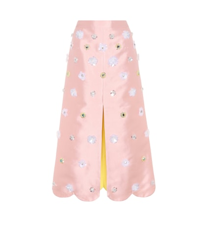 Daisy embellished cotton and silk skirt