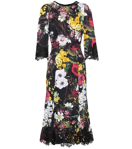 Lace-trimmed floral-printed dress