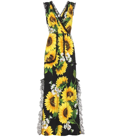 Sleeveless floral-printed dress