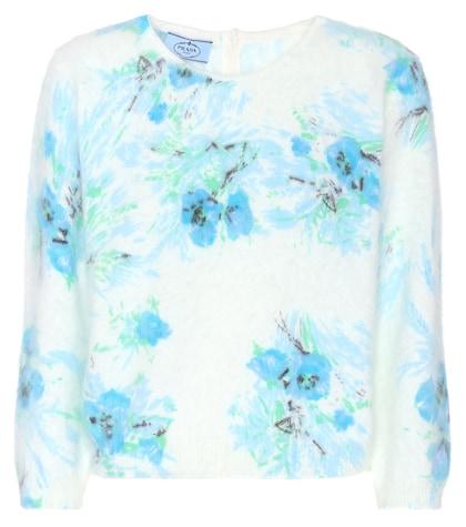 Floral angora sweater
