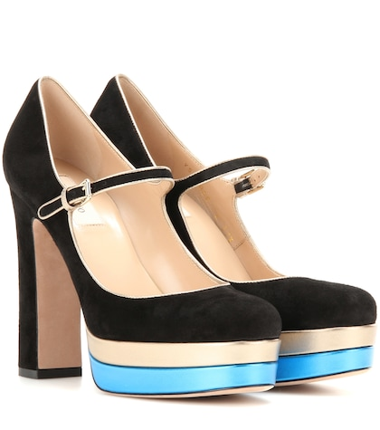 Suede And Metallic Leather Platform Pumps