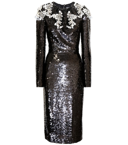 Crystal-embellished sequin dress