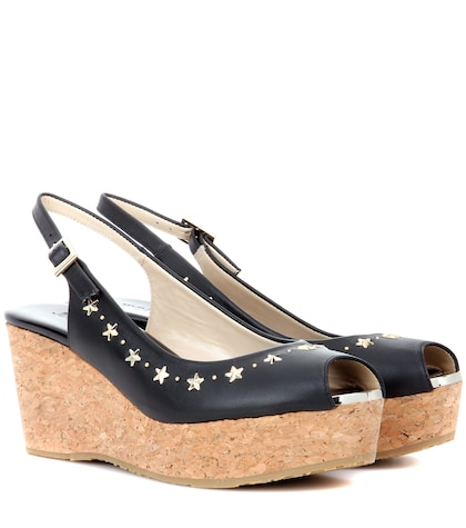 jimmy choo female praise leather wedges