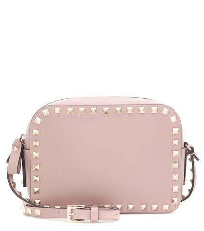 valentino female  rockstud leather crossbody bag