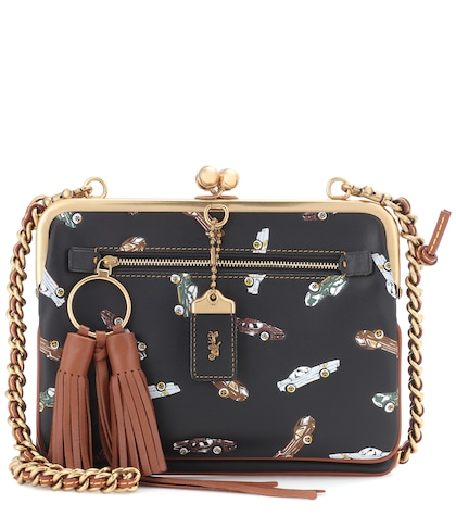 Printed leather crossbody bag