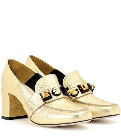 fendi female metallic leather pumps