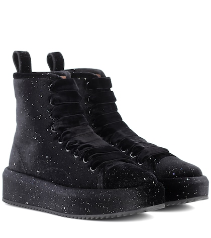 Velvet high-top sneakers