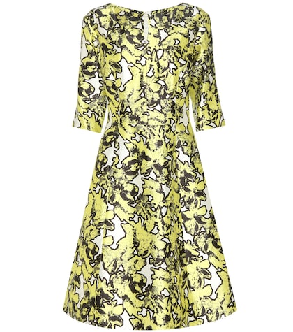oscar de la renta female printed silk dress