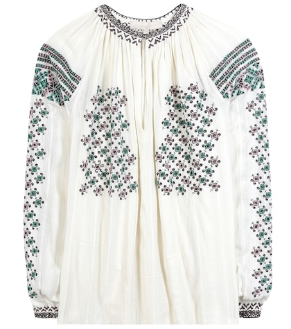 Embroidered beaded cotton blouse