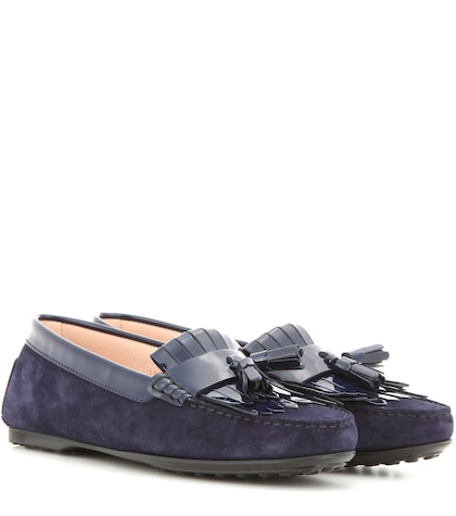Frangia Suede And Patent Leather Loafers