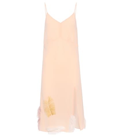 Feather-trimmed silk slip dress