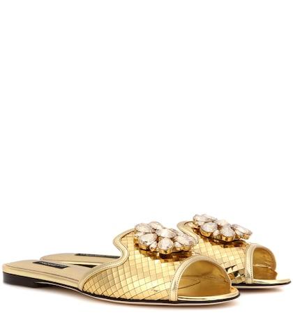 dolce gabbana female bianca metallic leather slipon sandals
