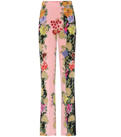 etro female printed silk trousers
