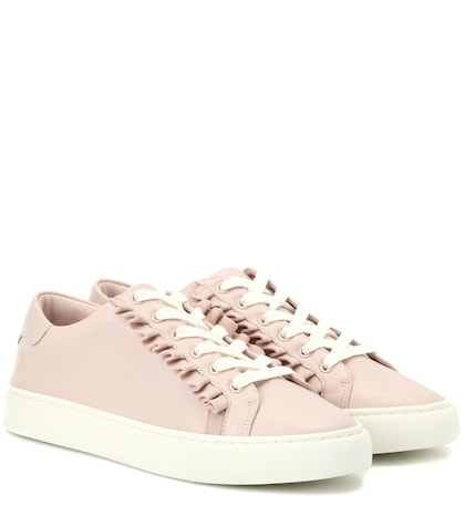 Ruffle leather sneakers