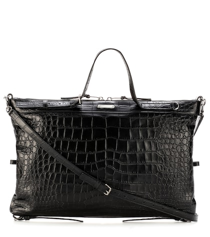 saint laurent female military id embossedleather tote