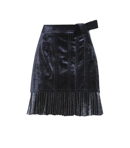Velvet and pleated metallic skirt