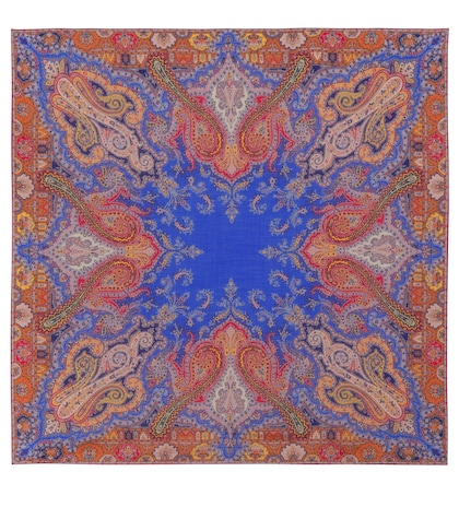 etro female printed wool and silk scarf