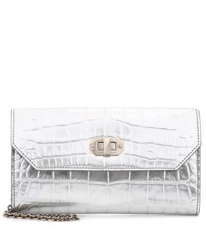 Embossed metallic leather clutch