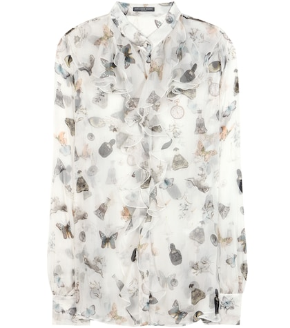Printed Ruffled Silk Blouse