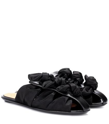 Capri Bow satin slippers