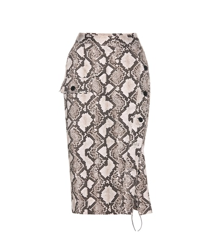 Snakeskin-printed cotton skirt