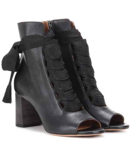 Harper peep-toe leather ankle boots
