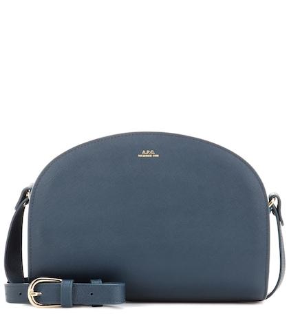 apc female demilune leather shoulder bag