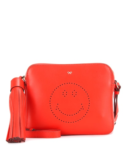 anya hindmarch female smiley leather crossbody bag
