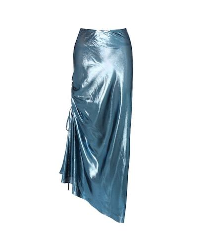 The Merry Widow metallic silk-blend skirt
