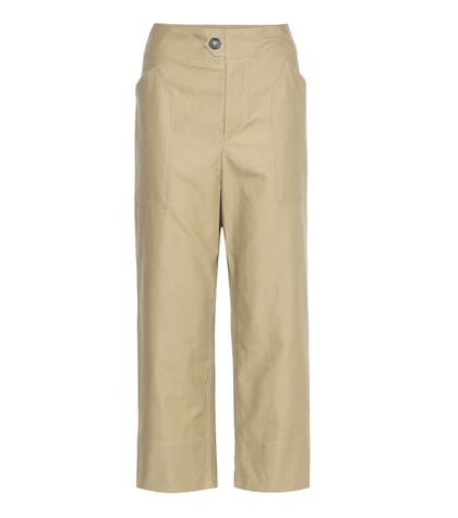isabel marant female sola cropped cotton and linen trousers