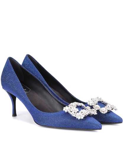 Embellished kitten-heel pumps