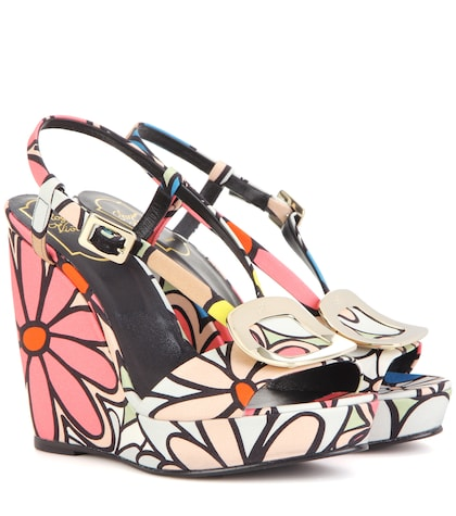 Chips Printed Wedge Sandals