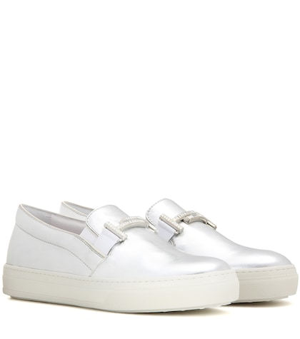 tods female sportivo double t metallic leather slipon sneakers