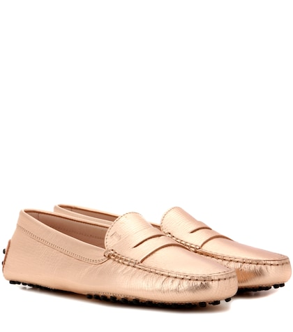 tods female gommini metallic leather loafers