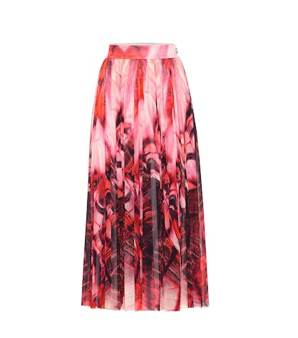 Butterfly-printed crêpe skirt