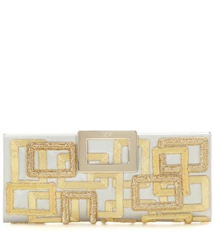 roger vivier female 236043 pilgrim small embroidered satin clutch
