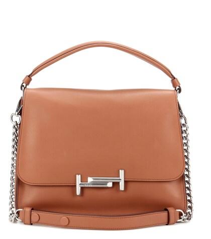 Double T Medium Leather Shoulder Bag