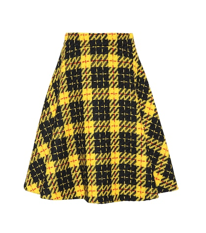 Plaid virgin-wool tweed skirt
