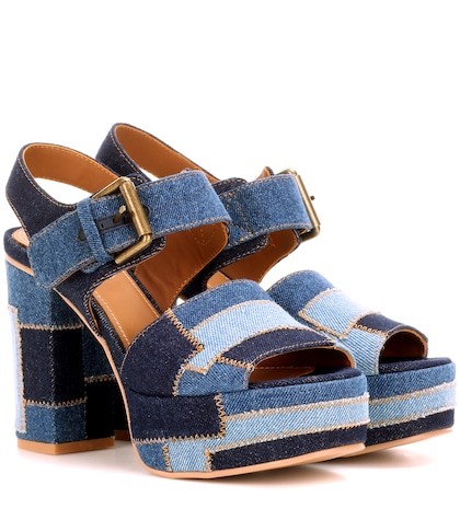 see by chloe female patchwork platform sandals