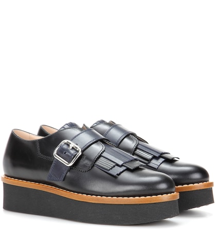 Gommino platform leather shoes