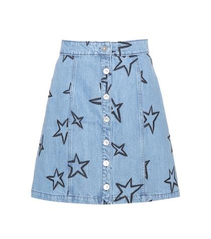 Star-embroidered denim miniskirt