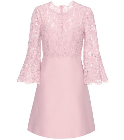 Lace-trimmed Wool And Silk Dress