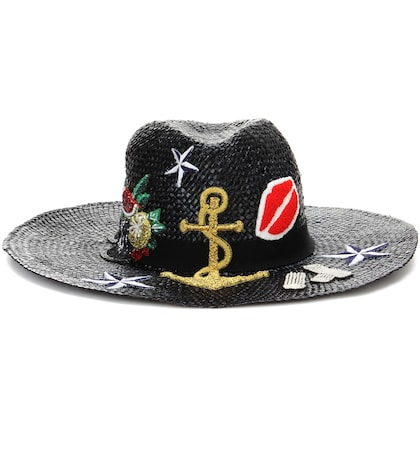 Straw Hat With Appliqué
