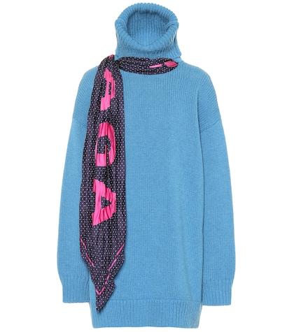 Pull à col roulé en laine avec foulard