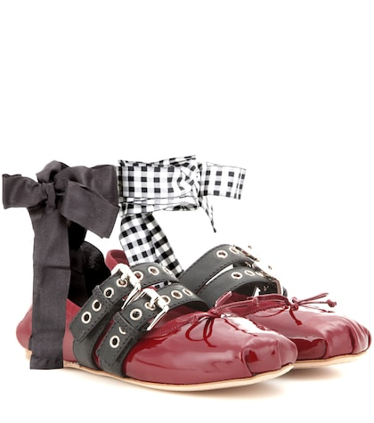 Buckle-embellished Patent Leather Ballerinas