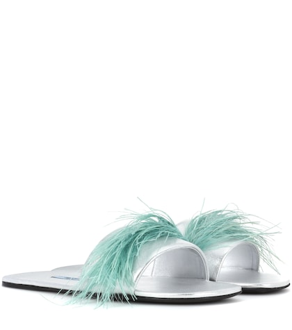 Feather-trimmed Leather Sandals